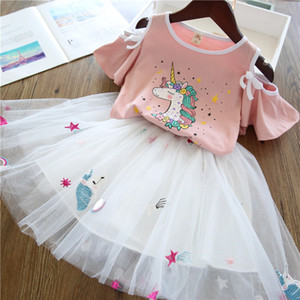 Boutique Kids Clothing Set Toddler Girls Clothes Baby Girl Outfit Casual Unicorn Outfits for Child T-shirt Skirt Suit