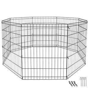 """Details about 24"""" Dog Playpen Crate 8 Panel Fence Pet Play Pen Exercise Puppy Kennel Cage Yard"""
