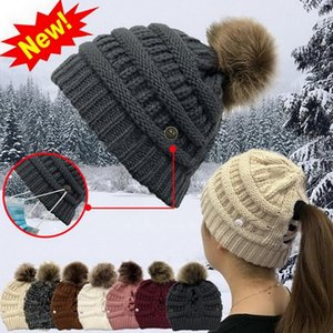 New hot selling button hat anti block plug cap mask knitted hat cross hair ball outdoor women's warm wool