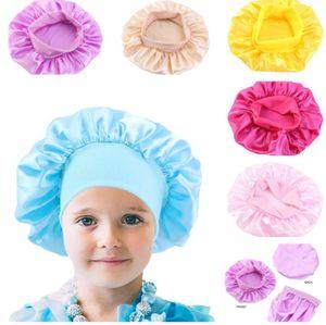 Çocuklar Katı Renk Bonnet Kız Saten Gece Uyku Duş Kap Saç Bakımı Yumuşak Kap Kafa Kapak Wrap Beanies Kafatası Kap 1-6Y Bebek Satış GWE2980