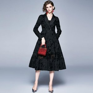 Sisjuly Elegant Women Pure Black Lace Dress Patchwork Belt Double-Breasted Hollow Floral Ladies Office Dress Vestidos Vintage
