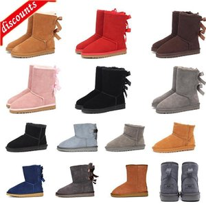 Top Quality winter snow Boots 2020 Triple Grey pinks red Black Chestnut two bow women shoes size 36-41