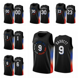 2020/21 Мужчины 9 RJ Barrett Kevin Knox II Swingman City Баскетбол Джерси Нью-ЙоркКолебаниеЧерное значок издания
