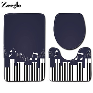 Bath Mat in the Bathroom Home Decoration Toilet Carpet Flannel Absorbent Foot Rug Set and Piano Keys Print Toilet Seat Cushion