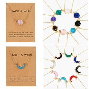 New Design Resin Stone Druzy Necklaces Geometry Stone Pendant Necklace For Elegant Women Girls Fashion Temperamental Jewelry