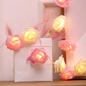 2m 10 LED tiras de bateria Rose Light Tiras Férias Cordas de Férias Ano Novo Decorações de Natal para enfeites em casa