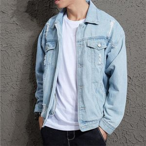 TANG Mens Hole Jean Jacket Mens Outwear Male Cowboy Cotton Solid Denim Jacket Spring Autumn Casual Slim Fit Bomber Jackets