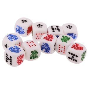 10pcs 6 Sided D6 Dice King Queen Jack 16mm Acrylic Poker Gaming Card Game Dices Friends Party Board Game Dice