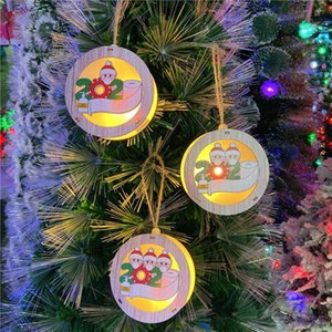 New Christmas Luminous Pendant with Face Mask Santa Claus Light Box Ornaments Children Christmas Gifts 3 Styles GGB2367
