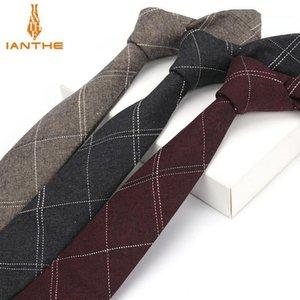Ianthe 6 cm de terno dos homens gravata homens clássico xadrez Gravata Negócios formais bowknots laços masculinos de algodão magro slim estreito laços cravat1