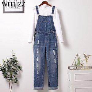 Withzz Autumn Woman's Plus Size Slip Slip Hole Hole Denim Tuta Dimensioni asiatiche Jeans Y1214