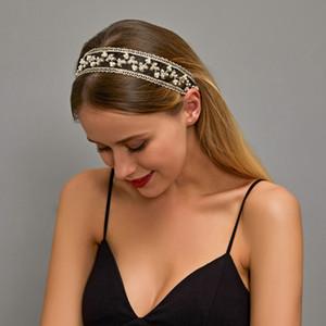 Moda Branco Preto Lace Headband para Mulheres Simulado Pérola Pérola Acessório Cabeça Bandas Largo Cabelo Bridal Acessórios Elásticos Headwear