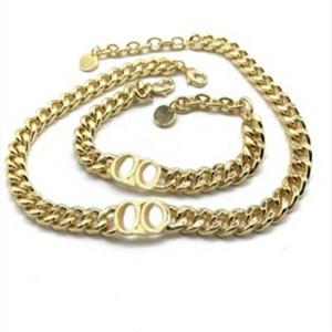 Мода Письмо из нержавеющей стали 14K Золотая кубинская ссылка цепи ожерелье браслет для мужских и женщин вечеринки влюбленные подарок подарок хип-хоп ювелирные изделия с коробкой