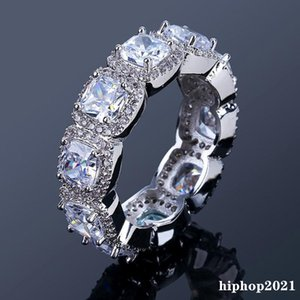 925 Sterling Silver Hiphop Iced Out Diamond Rings For Mens with Full Cubic Zirconia Ring Hip Hop Jewelry