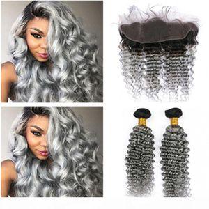 Raíz oscura 1B Ombre gris Ombre Indian Virgin Human Hair 2bundles Wave de profundidad Tejidos con 13x4 Encaje completo Frontal Cierre Free Middle 3 Parte