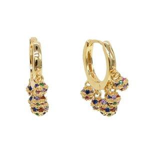 Dangle Chandelier Fashion Rainbow CZ Charm Ball Fascino Dangel orecchino con orecchini rotondi colorati per gioielli da sposa
