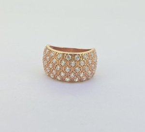 UUE Jewelry white cubic zirconia rose gold over silver rings Hot sale, good-looking, simple, generous and exquisite noble rose gold ring
