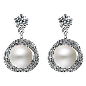 Fashion Earrings Jewelry with Pearl Zircon Gemstone Drop Earring for Women Wedding Party Gift