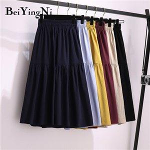 Beiyingni 2020 Summer Autumn Skirt Women Solid Color High Street Maxi Long Casual Skirts Womens Pleated Irregular Luxury Faldas Z1122