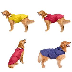 Pet Dog Raincoat Hound Waterproof Apparel Big Dogs Grid Solid Color Hood Clothes Accessories Pets Rain Outdoor Sport 33dt G2