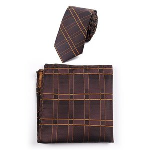 2020 Business Neck Ties for Mens Handkerchief Set Polyester Jacquard Striped Plaid Necktie Square Pocket Set Custom Logo