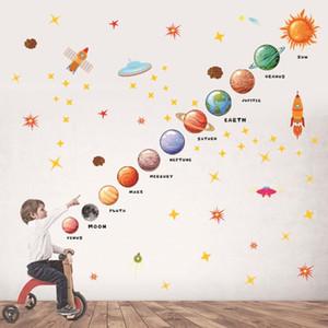 Planetas de la etiqueta de la pared Pegatinas de pared para niños Habitaciones para niños Decoración Espacio exterior Planetas Decoración para el hogar Mural DIY Art Art PVC Calcomanías Zyy81
