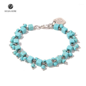 Natural Stone Small Square Handmade Nine-Character Pin Curved Bracelet Zinc Alloy Pendant Cool Design Charming Woman Bracelet1