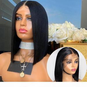 Afroamerikaner-menschliches Haar-Perücken Bob-Stil kurzer Lacefront Brasilianer Remy mit Babyhaaren vorgepteten volle Spitze-menschliche Haarperücke