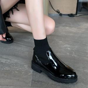 2020 Fashion Autumn Combat Boots Women Black Ankle Boots Platform Punk Gothic Shoes Bright Black Leather Warm Plush Sock