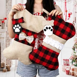 Christmas decorations Christmas socks gift bag dog paw Christmas socks lattice red blue 16.5*10.2inch