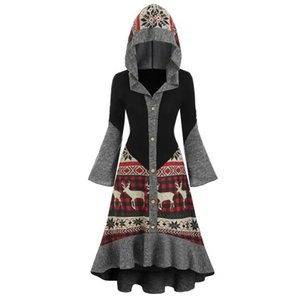 JAYCOSIN Women Dress Merry Christmas Elk Hooded High Low Flounce Hem Knitted Dress Fashion Autumn Winter Party Dress Plus Size F1202