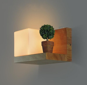 Cubi Wall sconce glass Lamp wood shelf cubic Modern light hotel restaurant doorway porch vanity lighting novelty