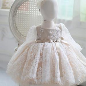 Newborn Baby Girls Dress for Baptism Christening 1st Birthday Infant Dresses Long Sleeve Tulle Party Prom Toddler Girl Dresses 201204