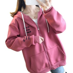 Autumn And Winter Thickened Plus Velvet Loose Ladies Hoodie Korean Version Of The Large Size Zipper Alphabet Casual Girl Coat F1204