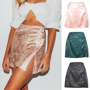 Women Summer Elegant Jacquard Satin Short Skirts Sexy High Waist Split Mini Skirt Vintage Zipper Skirt High Street New 2020