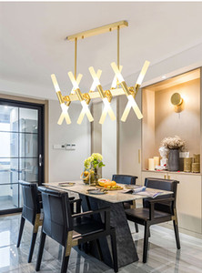 Minimalist Post-Modern Black Gold Creative LED Long Branch Chandelier with Acrylic Lampshade for Bedroom Living Room Restaurant
