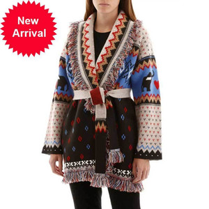 Boho Inspired cashmere relaxed fit fringe autumn winter sweater for women long sleeve warm belted waist cardigan