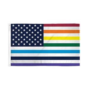 EUA Arco-íris Old Glory Bandeira 3 'x 5' Gay LGBT bandeiras americanas duplas costuradas e duplas poliéster costuradas com gêneros de latão