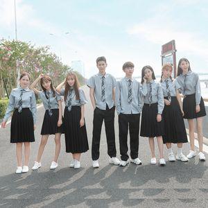 2020college style class ins summer high School students British uniform graduation dress girl