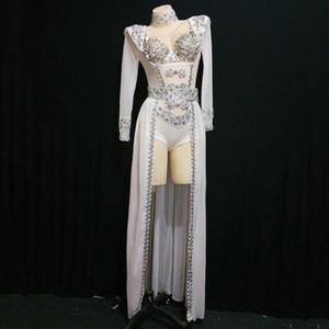 Strass Strass Strass Turn White Dance Outfit Body Costume longue Queue Dancer Show Outfit Birthday Soirée Soirée Scène de promotage Leotard DT1622