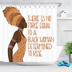 Schwarz Afro Girl African American Theme Sexy Afrocentric Mädchen mit Tribal Headware inspirierend Zitat Duschvorhang