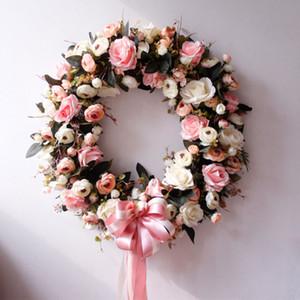Venda quente de 20 polegadas de alta qualidade rosa rosa flor artificial coroa de flores para janela parede janela Natal casa casamento decoração DHE3396