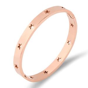 Fysara Fashion Hollow Star Bangles Bracelets For Women Trendy Jewelry Stainless Steel Rose Gold Cuff Bracelets European sqcIcF