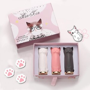 YOHAPPY 3 Pcs set Cartoon Cat Lipstick Waterproof Long Lasting Crystal Moisturizing LipsticksRabin