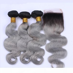 #1B Grey Ombre Peruvian Virgin Hair Bundle Deals 3Pcs with Closure Body Wave Ombre Silver Grey Human Hair Wefts with 4x4 Lace Closure