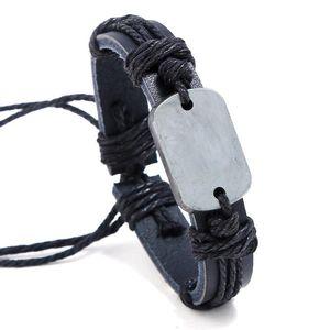 Fashion Vintage Antique Bracelet Minimalist Alloy Rope Genuine Leather Bangle Wrap Retro Wristbands Adjustable Women Men Jewelry