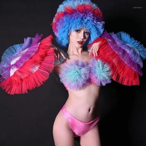 Бар DS Костюм Новый Сексуальный NightClub Rave Gogo Dance Одежда Multicolor Mesh Catwalk Bikini Set Hat Stage Outfit1
