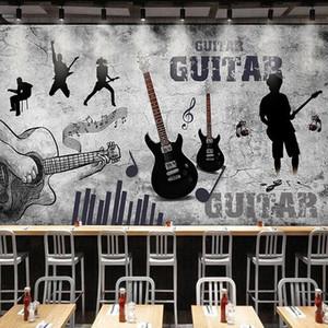 Custom 3D Mural Wallpaper Retro Hand Painted Music Theme Wallpaper Guitar Graffiti Cement Wall Fresco Restaurant KTV Bar Murals