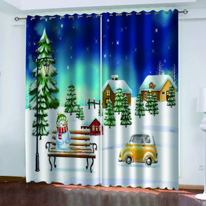 Luxury Blackout 3D Window Curtains For Living Room Bedroom snow christmas curtains stereoscopic curtains