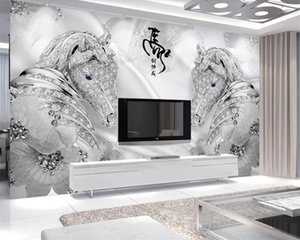 3d Animal Wallpaper Custom Luxury 3d Wallpaper Luxury Jewelry Horse Background Wall Decoration Painting 3d Photo Wallpaper Mural
